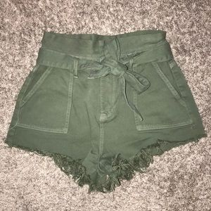 Shorts - Olive utility paper bag high waisted shorts